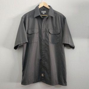 Carhartt XL Gray Short Sleeve Button Down Shirt